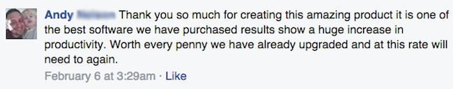 Facebook review from Andy